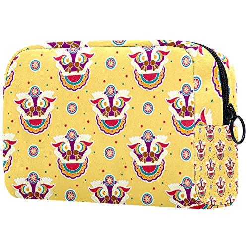 KAMEARI Bolsa de cosméticos divertida de la danza del león chino patrón grande cosmético organizador multifuncional bolsas de viaje