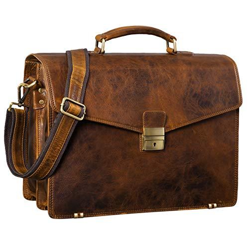 STILORD 'Cosmos' Vintage Aktentasche Leder Groß für Herren Businesstasche mit Laptop-Fach Umhängetasche XL für Büro Arbeit mit Schloss echtes Leder, Farbe:Prestige - braun
