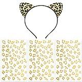 Pandecor 3 Pack Gold Cheetah Print Temporary...