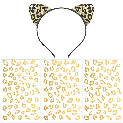 Pandecor 3 Pack Gold Cheetah Print Temporary Tattoos with a Cheetah Ears Headband,Removable Temporary Tattoo and headband for Halloween Leopard Costumes