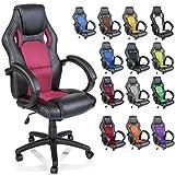 TRESKO Silla giratoria de oficina Sillón de escritorio Racing, silla Gaming ergonómica, cilindro neumático certificado por SGS (Negro/Rosa)