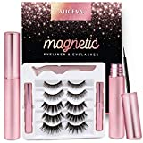 Aliceva Upgraded Magnetic Eyeliner and Eyelashes Kit, Reusable 3D 5D Magnetic Eyelashes with Eyeliner, Magnetic Eyelashes 5 Pairs 2 Eyeliners