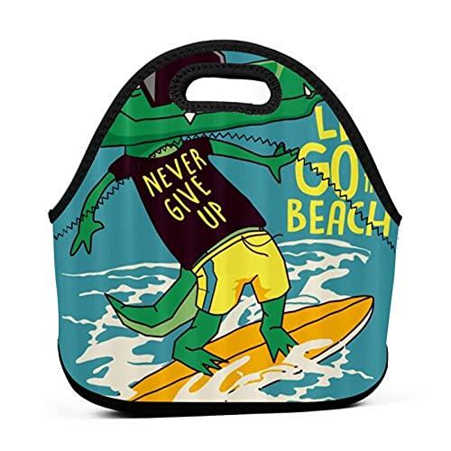 ADONINELP Lunch Bag Portable Tote Bento Pouch,Dinosaur Surfing Beach,Néoprène avec Fermeture à Glissière For School Work Office Travel Sac à main
