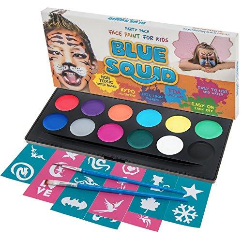 Blue Squid Face Paint Kit for Kids - 12 Washable Colors, 30...