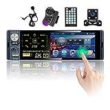 Hikity RDS Radio de Coche 1 DIN Bluetooth Autoradio con 4 Pulgadas Pantalla Táctil Estéreo del Coche con FM/Am USB SD AUX-IN + Cámara Visión Trasera + Micrófono
