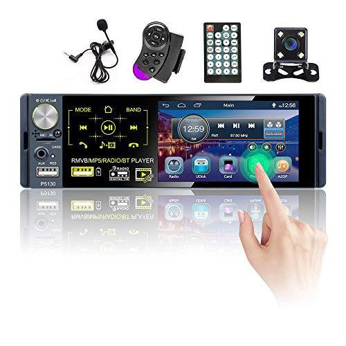 Hikity RDS Autoradio 1 DIN Bluetooth Auto Stereo Ricevitore FM AM con 4 Pollici Toccare Schermo Capacitivo con USB, Ingresso AUX, Porta di Ingresso per Scheda SD + Telecamera e Microfono