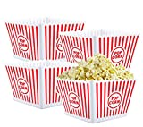 Bekith 4 Pack Plastic Open-Top Reusable Popcorn Boxes Popcorn Containers Bucket Tub for Movie Night, 9' Square x 6' Tall