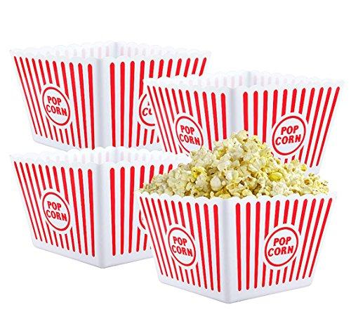 Bekith 4 Stück Popcornschale Kunststoff Popcorntüten Wiederverwendbare Popcornbecher Retro Popcorn Behälter, 23x23x15cm