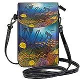 Teléfono celular monedero submarino papel pintado con barco y peces pequeño bolso de teléfono celular monedero para mujeres niñas