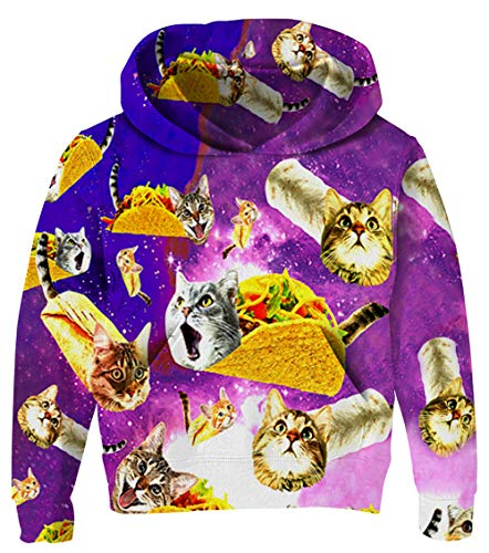 Boys Taco Cat Pullover Kids Colorful Hoodies Girls Pizza Cat Sweatshirts Funny 3D Printed Jackets Long Sleeves Drawstring Hooded Outfits Teens Comfy Soft Tracksuits Clothes with Pocket 11-13 Years