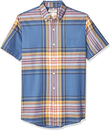 – Camisa de madrás ajustada de manga corta, para hombre, Cuadros azules y amarillos, US L (EU L)