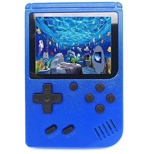 Handheld Spielkonsole, Retro Konsole transportabel 500 Klassische Spiel TV-Spielekonsolen AV Kabel 3 Zoll Bildschirm Game (Blau)