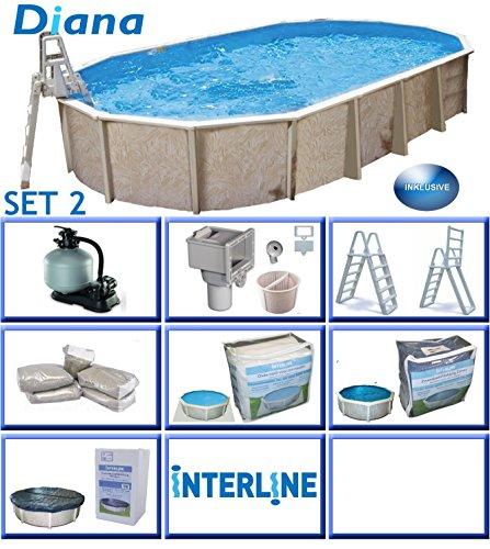 Interline 50000056 Diana Auf- und Erdeinbau POOLSET 2 Stahlwandpool 8,50m x 4,90m x 1,32m mit Sandfilter Set 8,0m³/h