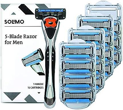 Marca Amazon – Solimo 5 cuchillas MotionSphere Maquinilla de afeitar para hombres con lubricación doble y recortadora de precisión, mango y 16 cartuchos (cartuchos solo se ajustan a las asas de afeitar Solimo)