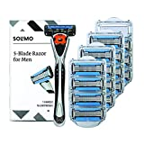 Solimo 5-Blade MotionSphere Men's Razor w Dual Lubrication & Precision Trimmer