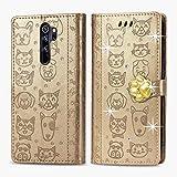 Oihxse Mignon Case Compatible pour Xiaomi Poco F2 Pro 5G Coque Housse Étui Cuir PU Portefeuille avec Carte Fentes Fonction Stand Motif Chat et Chien Brillant Glitter Diamant Cover,d'or