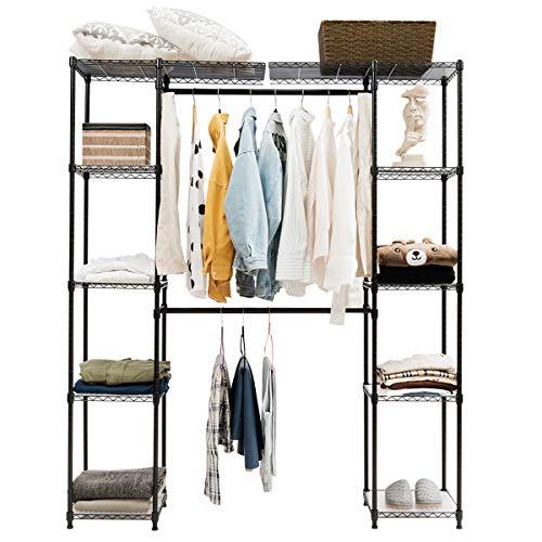 GIANTEX Kleiderständer mit Ablage, Ausziehbarer Garderobenständer Kleiderschrank Metall, 8 Ablagen & 2 Kleiderstangen, Wäscheständer Hängeregal für Schlafzimmer Ankleidezimmer (schwarz)