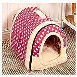 ZCNNO Pinkes Haustier-Plüsch-Hundebett, beheiztes Katzenhaus, waschbar mit abnehmbarem Bezug, Rutschfester Boden, für kleine und mittlere Hunde und Haustiere (M)