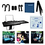 CACESSORY Steering Wheel Tray Table (Anti-Slip Pads and Carrying Bag) – Multifunctional Car Tray for Eating, Working, Writing or Reading – Car Food Tray Laptop Tablet Desk for Kids, Police, Commuters
