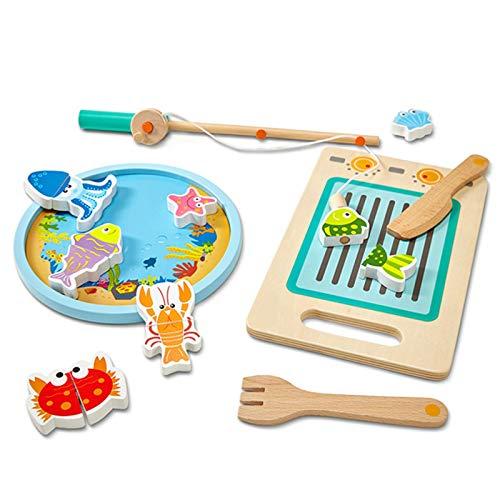 LYY Spaß Interaktiv Angelschnitte, Zwei-in-One-Set Lustige magnetische Schneidspiel Kinder Angeln Spiel Puzzle Spielzeug Spaß Spielzeug Die Beste Wahl für Kinder