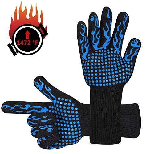 Ateboo BBQ Gloves 1472℉ Extreme Heat Resistant Grill Gloves Food Grade Kitchen Oven Mitts Silicone Non-Slip Cooking Gloves for Barbecue Cooking Baking Welding