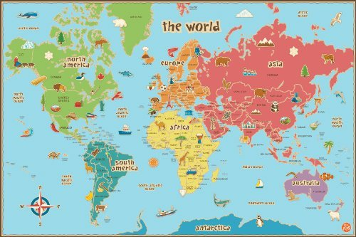 Wall Pops WPE0624 Kids World Dry Erase Map Decal Wall Decals by Wall Pops