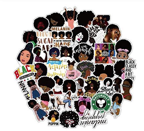 50 Stuks Inspirerende Zwarte Meid Melanine Poppin Sticker Diy Laptop Telefoon Gitaar Koffer Bagage Skateboard Stickers Voor Kinderen