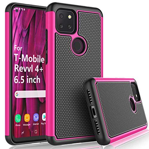 T-Mobile Revvl 4 Plus Case, 2020 TCL Revvl 4+ Case for Girls, Tekcoo [Tmajor] Shock Absorbing [Rose] Rubber Silicone & Plastic Scratch Resistant Bumper Grip Rugged Cute Sturdy Hard Phone Cases Cover
