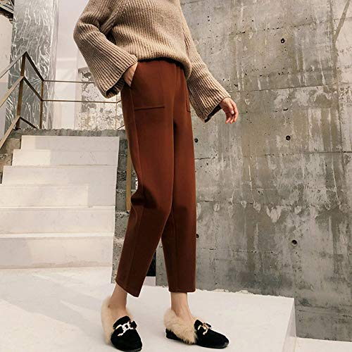 FGJHGH Damen Lederhose Winter warme Hosen Damen Dicke High Waist Casual Hosen Pluderhosen für Damen Elastische Wollhose Plus Size, Dunkelbraun, XXL
