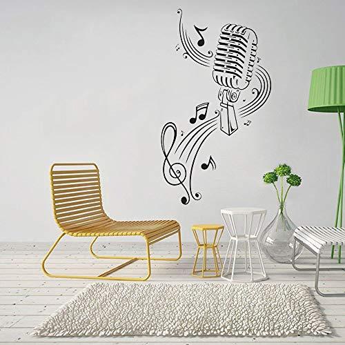 Vinyl muursticker microfoon muziek notities kunst interieur Stickers slaapkamer muziek kamer KTV Cool muurschildering decoratie57X40cm