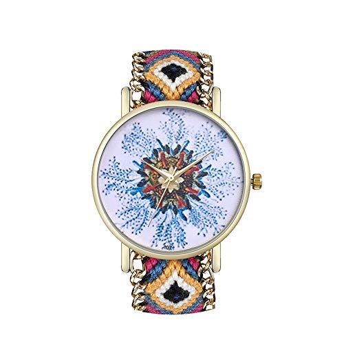 JZDH Relojes para Mujer Relojes de Moda Vintage Reloj de Cuarzo Moda Big Table Table Ladies Exquisite Reloj con Reloj de Moda de Cuarzo Relojes Decorativos Casuales para Niñas Damas (Color : E)
