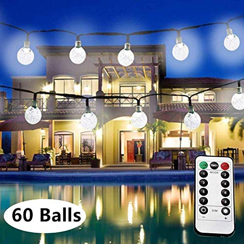 LiyuanQ LED Halloween String Lights, 8 Modes 60 Crystal Globes Battery Operated String Lights with Remote Timer, 33 Feet Indoor Waterproof String Lights Home Wedding Birthday Party Decor (Cool White)