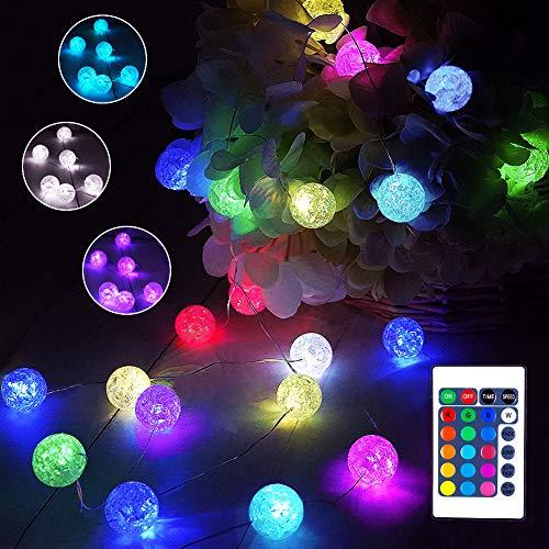 40er LED Kugel Lichterkette Bunt, 16 Farben Knistern Kristall Lichterkette Batterie & USB, 4M Farbwechsel Partylichterkette Kugeln mit Fernbedienung für Weihnachtsdeko Hochzeit Kinderzimmer Mädchen