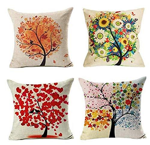 Fodera per cuscino,set di 4 Federa per albero a quattro stagioni Fodera per cuscino per divano quadrato House 45 x 45 cmTh Fodere per cuscino a forma quadrata Federe con cerniera invisibile Confezione