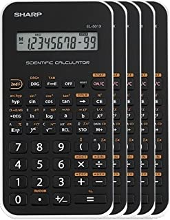Sharp EL-501XBWH Scientific Calculator 5 Pack