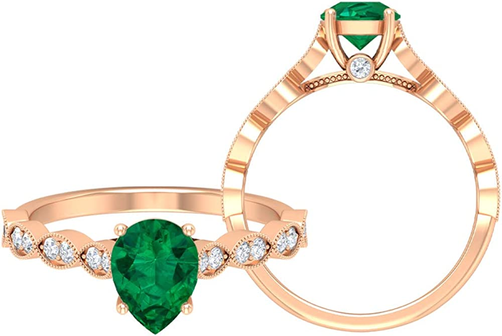 Rosec Jewels - 6X8 MM Pear Tourmaline Cut Green w 40% OFF Cheap Max 63% OFF Sale Ring Solitaire