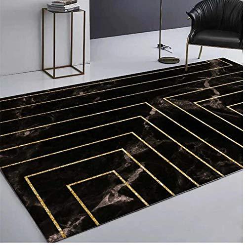Alfombra de Lujo de mármol Negro para Sala de Estar, línea geométrica Dorada, Dormitorio, Pasillo, Pasillo, Alfombra 3D, Alfombra Decorativa para casa