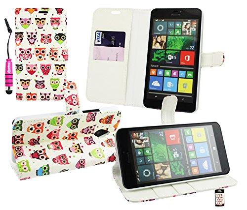 Emartbuy® Eingabestift Packfür Microsoft Lumia 640 XL LTE / Lumia 640 XL LTE Dual Sim Metallic Mini Hot Rosa Eingabestift + Premium PU Lederetui Tischladestation Geldbörse Tasche Hülle Eules mit KRotitkartenfächern + LCD Bildschirmschutz