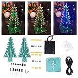 Xinwoer DIY 3D Christmas Tree Electronic Circuit Kit LED Stereo Christmas Tree Holiday Homen Store Decor Lntimate Christmas Gifts para niños(7 Colores)