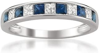 La4ve Diamonds 14k White Gold Princess-Cut Diamond and Blue Sapphire Wedding Band Ring (1 cttw, H-I, I1-I2)