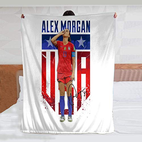 yiliusu Alex Morgan Sipping Tea - Cozy Flannel Bed Blanket Soft Throw Blanket Fit Couch Sofa Car Beach Travel Picnic Camping Suitable for All Season (50x40inch)