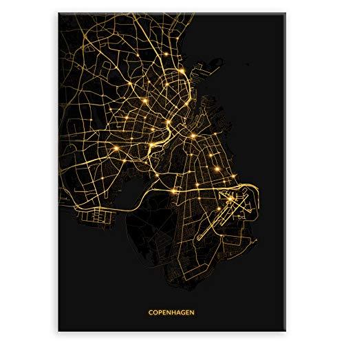 Murrano Poster Wandbilder Deko Wohnzimmer - Weltstädte - zur Selbstmontage mithilfe eines Magnets montiert - aus Metall - City Lights - Copenhagen - 45 x 32 cm