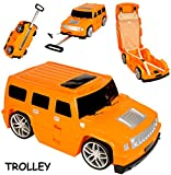 alles-meine.de GmbH 3 in 1: großer _ Kinder - Trolley + Sitz -Koffer -  Auto - Jeep / Truck - orange  - Sitzkoffer zum Ziehen + Schieben / Sitzen & Spielen - Jungen - Trolly mi..