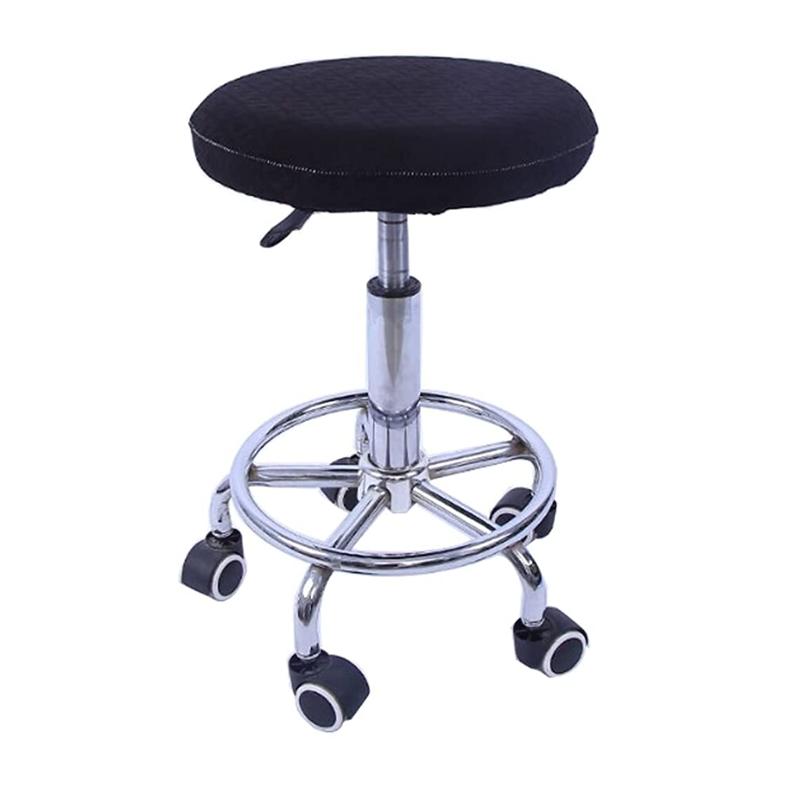 午後問い合わせ等価Keepjoy 丸椅子カバー 丸 チェアカバー スツール カバー 座面 ラウンドスツール 椅子カバー キャスター オフィス ミーティング 弾性 伸縮素材 (ブラック)