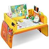 お絵描きテーブル トレイ ベビーテーブル お絵かき 子供向け 知育おもちゃ ギフト お絵かき 旅行 (黄色)