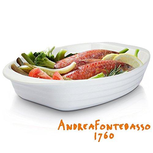 Andrea Fontebasso Teglia da Forno Porcellana di Alta qualità - Adatta a Microonde, Forno e Lavastoviglie - Manici Ergonomici (37 x 24 cm)
