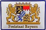Tin Sign Blechschild 20x30 Freistaat Bayern Staats Wappen auf Weiß mit Rand in Blau Grenze Rauten Flagge Franken Pfalz Schwaben