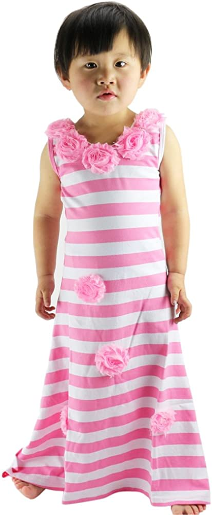Wennikids Baby Girls Pink Stripe Princess Dresses Flower Summer Long Beach Dress