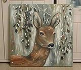 Acrylgemälde REH IM GLITZERWALD 50cmX50cm auf Leinwand mit Glitter