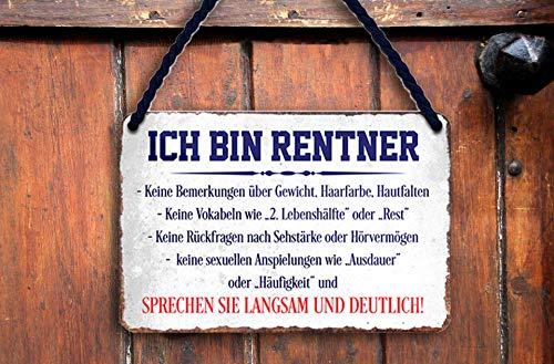 """schilderkreis24 – Blechschild Lustiger Spruch """"Ich Bin Rentner"""" Pension Hauseingang Geschenkidee Geschenk Geburtstag Weihnachten Großeltern Rentner Senioren Enkelkinder 18x12 cm"""